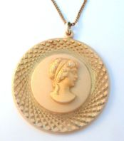 Vintage Unusual Large Eloxal Cameo Style Pendant And Necklace.